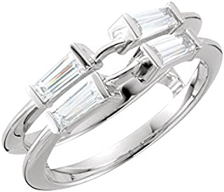 Jewels By Lux 14k White Gold 3/8 CTW Diamond Ring Guard Size 7
