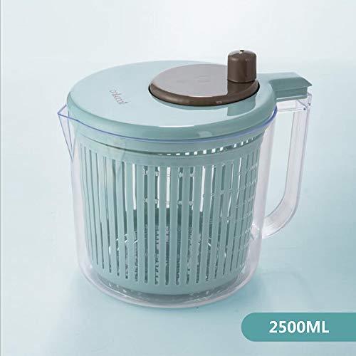 Große Salatschleuder 2.5L, Veg Blatt Trockner, Easily Wash, Spin, Anti-Rutsch-Basis, Schnell Drainage, BPA frei Kunststoff, für Küche, Restaurant,2.5l