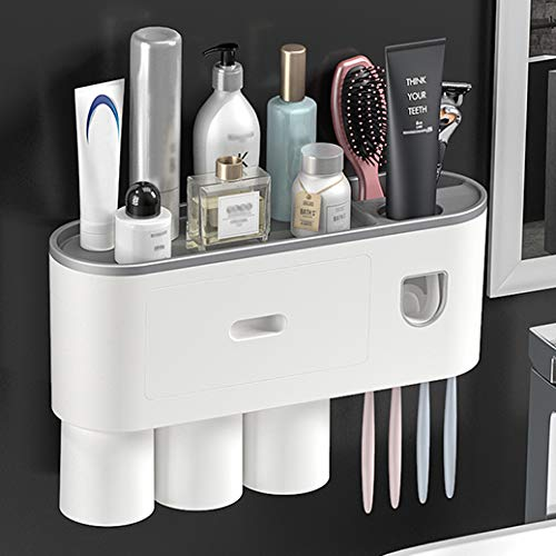 BUILDEC Toothbrush Holder Wall-Mounted Multifunctional Toothbrush Holder and Automatic Toothpaste Dispenser Kit with Dustproof Cover 4 Toothbrush Slots Cosmetic Organizer and Drawer Magnetic (3 Cups)