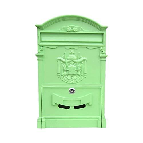 ZZYE Vintage Brief Postfach Postfach Briefbox Antike Metallic Für Wallmount, Cast Aluminium 26x8x41cm Briefkasten (Color : Green 2)