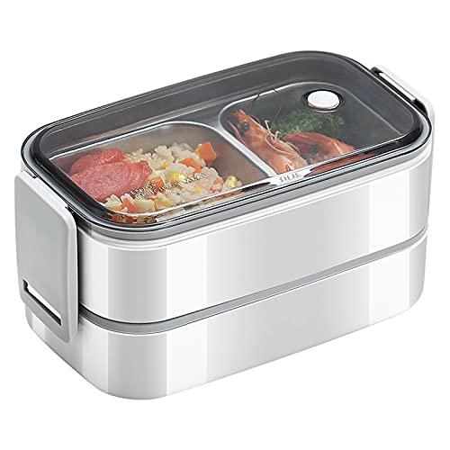 N\B 2 Niveles Bento Box, 304 Caja de Almuerzo de Acero Inoxidable Bento, Contenedor de Almacenamiento de Alimentos a Prueba de Fugas, Utensilios portátiles, Reutilizable, Calefacción de microondas
