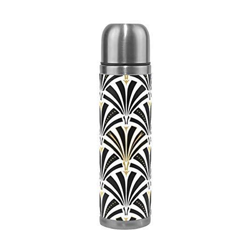 AEMAPE Ventilador Art Deco de Acero Inoxidable Botella de Agua Termo Taza de vacío con Aislamiento Cubierta de Cuero Taza de Viaje de 17 oz para niños Adultos