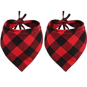 Lamphyface 2 Pcs Dog Bandana Christmas Pet Triangle Scarf Accessories Bibs Red Black Plaid