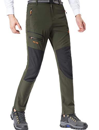 DAFENP Pantaloni Trekking Uomo Softshell Impermeabili Pantaloni Montagna Escursionismo Leggero Traspirante Asciugatura Rapida All'aperto KZ1716M-ArmyGreen1-L