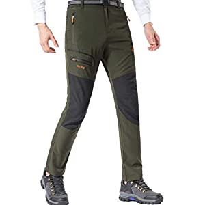 DAFENP Pantalones Trekking Hombre Impermeable Pantalones de Escalada Senderismo Alpinismo Ligero Secado Rápido Transpirable Aire Libre