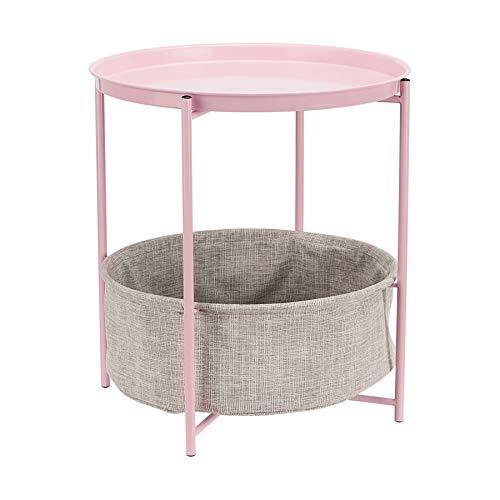 Amazon Basics - Mesa redonda con capacidad de almacenamiento en rosa apagado con tejido gris jaspeado