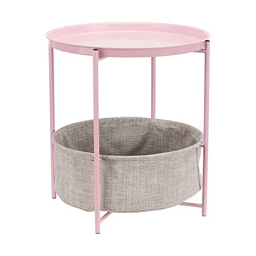 AmazonBasics Round Storage End Table - Dusty Pink with Heather Grey Fabric