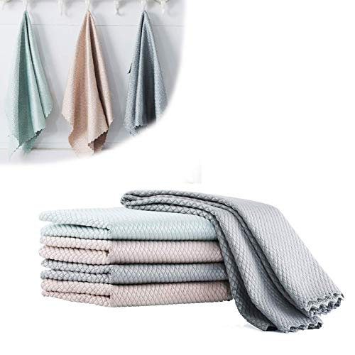 5 PCS Soft Durable Water-absorbent Wipe Glass Fish Scale Cloth,Kitchen Cleaning Scouring Pad Fish Scale Grid (25 * 25cm)