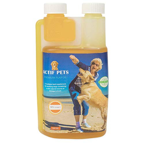 Actif Pets Flaxseed Oil for Dogs-Rich in Omega 3, 6 & 9 for Dry, Itchy Skin/Coat. A Natural Dog Supplement for Stiff Bones/Joints/Hips.