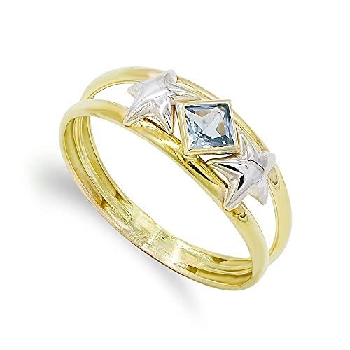 Sortija oro bicolor 18k mujer aguamarina rombo combinada estrellas dos hilos
