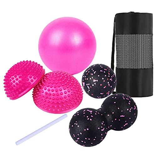 BBABBT Juego de 6 pelotas de fitness con bolsa de almacenamiento, pelota de yoga, bola de fascia, bola media redonda, juego completo de pelota de masaje de fitness y relajación