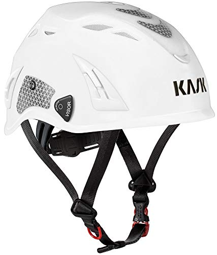 KASK Schutzhelm, Bergsteigerhelm, Industriekletterhelm Plasma HI VIZ - Arbeitsschutzhelm, Drehrad, Reflexstreifen, EN 397, Farbe:weiß-rot