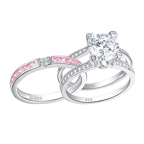 Newshe Jewellery Round Pink Cz 925 Sterling Silver Wedding Band Engagement Ring Sets Size 11