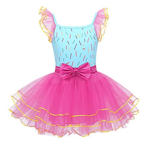 inhzoy Disfraz de Princesa Fancy Nancy para Nia Cosplay Infantil Vestido de Fiesta Cumpleaos Tut Falda de Danza Ballet Disfraces Halloween Carnaval Rosa Rojo Y Azul Claro 3-4Aos