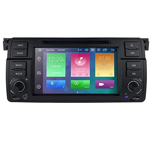 hizpo Reproductor de Radio para Coche Android 10 con Bluetooth navegación GPS Pantalla táctil de 7 Pulgadas Control de Volante WiFi USB SD CAM-in Apto para 3 Serie E46 M3 Rover75 MG ZT