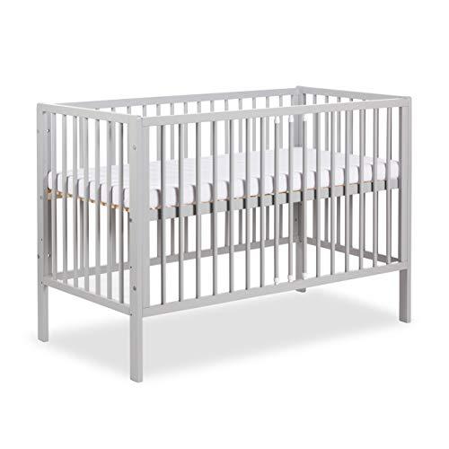 Clamaro 'Nap' 120 x 60 Babybett Gitterbett inkl. Kaltschaum Matratze, 3-fach höhenverstellbarem Lattenrost und 3 Schlupfsprossen - Kinderbett Maße: 125 x 66 x 85 cm - Grau