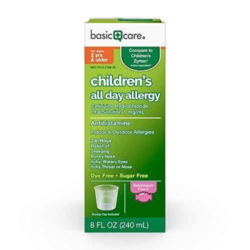 Basic Care All Day Allergy Relief, Cetirizine Hydrochloride Oral Solution 1 mg/mL, Bubble Gum Flavor, 8 Fluid Ounces