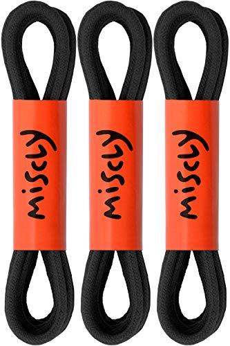 Miscly – Schnürsenkel für Anzugschuhe - Rund Reißfest Dünn [3 Paar] – 100% Baumwolle - Ø 2.4 mm (76 cm, Schwarz)