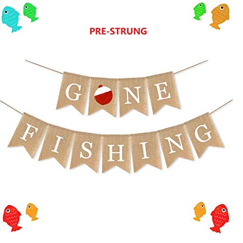 E&L Gone Fishing Banner, Fishing Party Supplies, The Birthday Party Decorations--No Self-Assembly Required.