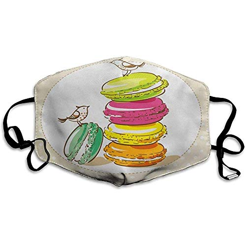 FANCYDAY Mond Maskers, Multifunctionele Maskers Kleurrijke Vintage Vogels En Franse Dessert Macarons Cake Party Recept