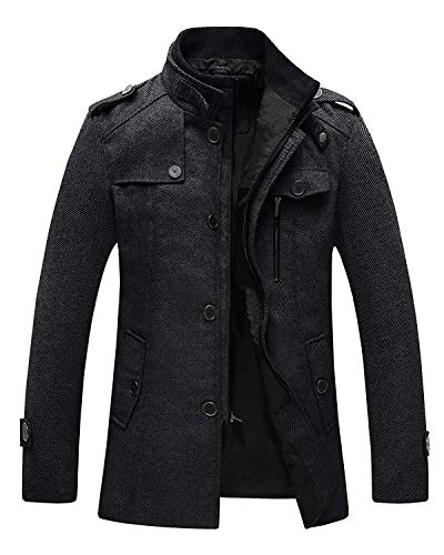 Wantdo Men's Cashmere Peacoat Business Casual Wool Jacket Overcoat Black L