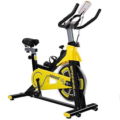 YLLN Bicicleta estática de Ciclismo Indoor, Volante de 5 kg impulsado por Correa Directa, manivela de 3 Piezas, para Gimnasio de Cardio en casa con cómodo cojín del Asiento, Ejercicio silencioso