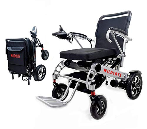 "Rubicon Best Rated Exclusive Deluxe Electric Wheelchair Motorized Foldable, Dual ""500W"" Motors, All Terrain,Portable Electric Wheelchairs(Silver Color - Seat Width 19.5"