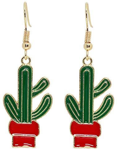 Bluebubble SUMMER LOVE Dangle Earrings Gift Boxed (Cool Mexican Cactus (Red Green))
