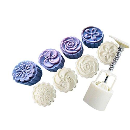 MAYOGO 4 Stil Blume Kuchen Formen, Weiß Runde Blütenblatt-schnitzen-Formen Set für Mondkuchen Fondant Deko