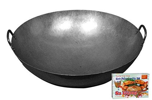 yoaxia ® - [ Eisen-Wok Ø 61 cm runder Boden, Doppelgriff ] Asiatische Eisenpfanne 24