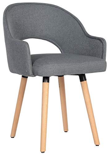 SixBros. 7015X/7686 Esszimmerstuhl aus Stoff - Polsterstuhl mit Armlehne – Polstersessel in grau – Stuhl für Esszimmer Wohnzimmer Küche