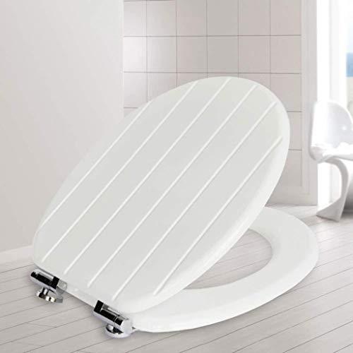 NYDZDM WC-Sitz Geschnitzte Draht Trough Toilettendeckel Mit Top Fest Ultra-Resistant Verdickte V/U/O-Form-Universal-Massivholz Toilettensitzabdeckung Badezimmer Deckel for Familie, Weiß-43~48cm
