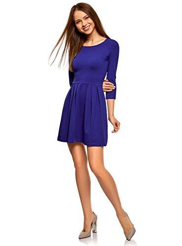 oodji Ultra Damen Tailliertes Kleid mit Ausgestelltem Rock, Blau, DE 32 / EU 34 / XXS