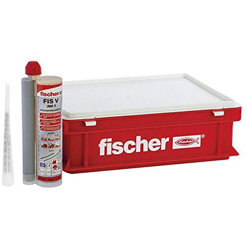 fischer Hochleistungsmörtel FIS V 360 S - Praktischer kleiner Handwerkerkoffer mit 10 Kartuschen Injektionsmörtel FIS V und 20 Statikmischer FIS MR Plus - 30 Teile - Art.-Nr. 41836