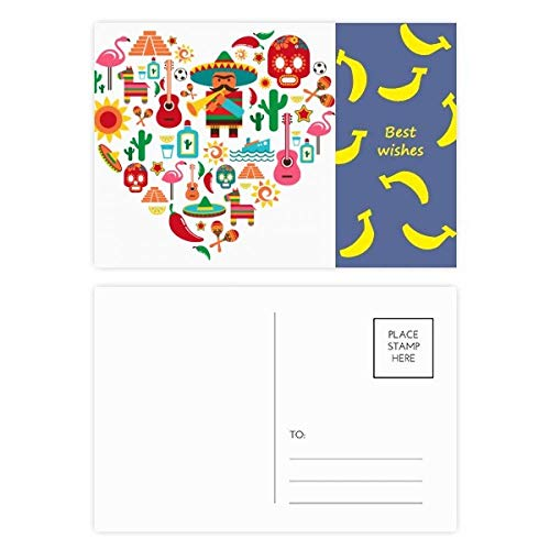 DIYthinker Sombrero Suger Skull Mexico Mexicaanse Flamingo Banaan Postkaart Set Thanks Card Mailing Side 20 stks 5.7 inch x 3.8 inch Multi kleuren
