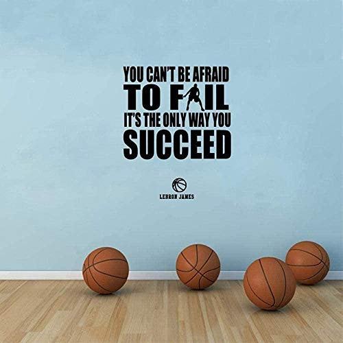 Tatuajes de pared decoración de pared de baloncesto y cita de éxito citas inspiradoras decoración de arte de habitación de niño 76x50Cm