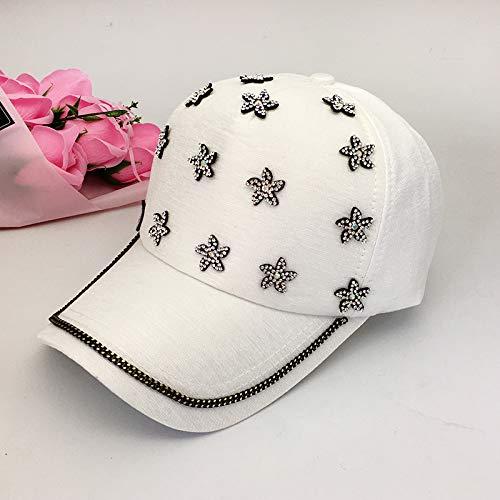 Frühlings- und Sommerhut weibliche koreanische Mode mercerisierte Strass-Sonnenschutzkappe Gezeitenmädchen Japanische niedliche Strass-Baseballmütze