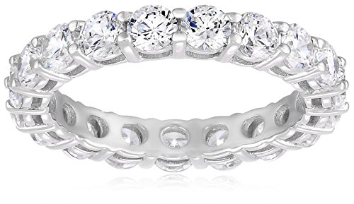 Amazon Collection Platinum-Plated Sterling Silver All-Around Band Ring set with Round Swarovski Zirconia (3 cttw), Size 7