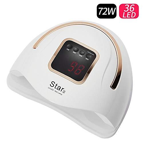 72W Gel Secador de gel Lámpara de esmalte de uñas Lcd Lámpara de esmalte de uñas UV para secar todo el arte de gel Manicura para uso Herramienta de gel de bricolaje Design-Star2_72W_White_EU