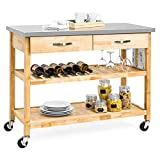 Stainless Steel Top Kitchen Cart With Storage On Wheels - Rolling Kitchen Island with Storage - Kitchen Prep Table - Kitchen Carts with Storage and Drawers - Kitchen Islands with Stainless Steel Top