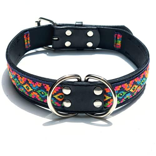 ZZCR Collar De Perro para Mascotas Collar De Perro De Cuero De PU Costura Correas Collar De Estilo Étnico Collar De Entrenamiento para Deportes Al Aire Libre Negro XL