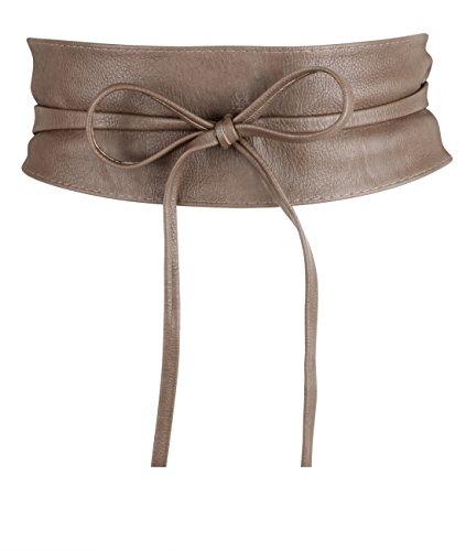 KRISP Cinturón Mujer Ancho Corsé Atado Cordón Cuero De Imitación, Marrón, 14987-BRN-OS