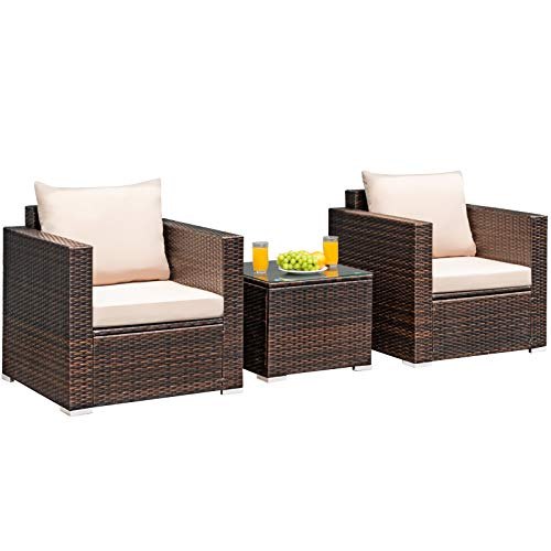 Tangkula 3 Pieces Patio Furniture Set, PE Rattan Wicker Sofa Set w/Washable Cushion and Tempered Glass Tabletop, Outdoor Conversation Furniture for Garden Poolside Balcony (Brown)