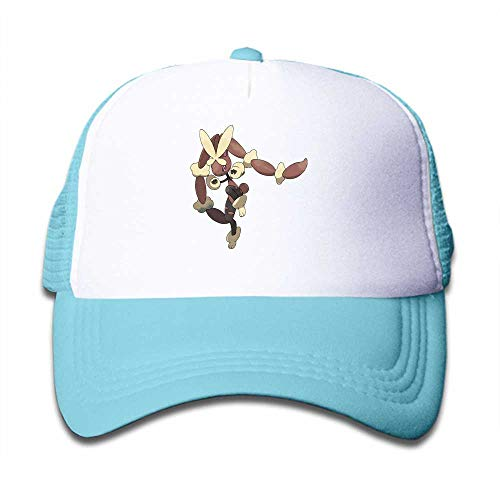 MWHprint Youth Adjustable Mesh Hats Baseball Trucker Cap for Boys and Girls, Pokemon Lopunny Mega, Sky Blue