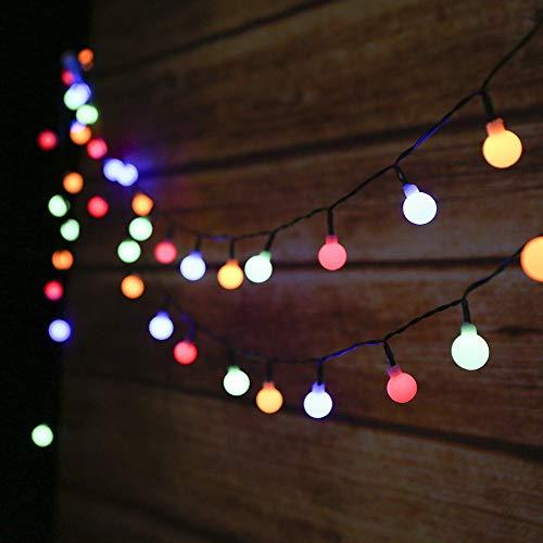 Guirnalda Luces Exterior Solar,Tomshine 50LED 6.9m Cadena de Luces Bolas Led Decorativas,IP44 Impermeable 8 Modos,Guirnaldas Luminosas para Exterior,Interior,Jardines Fiesta de Navidad (multicolor)