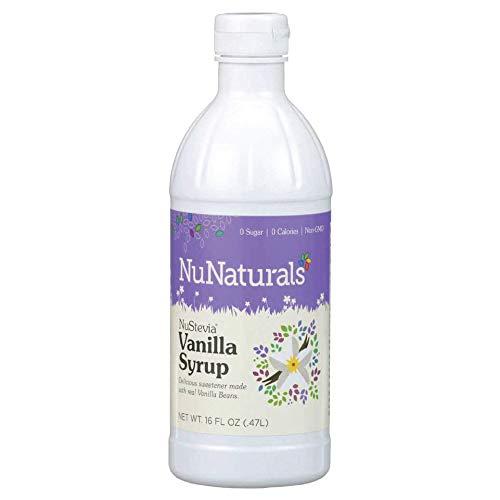 NuNaturals NuStevia Sugar-Free, Vanilla Syrup, Natural Stevia Sweetener, 16 Ounce, vanilla syrup