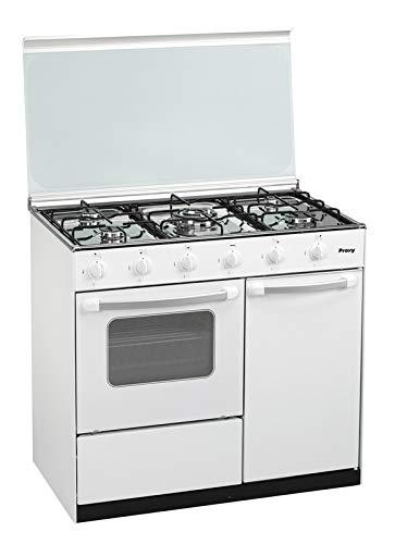 Cocina portabombona 90 cm de ancho con horno PROXY, color blanco, 5 fuegos (incluye 1 Triple Fuego) y horno con grill a gas (butano o natural).