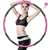 Yibaodan Hula Hoop, Fitness Hula Hoop Weighted for Weight Loss 6-8 Segments Removable Hoola Hoop for Adults Kids Children Boys Women (1-Pink)