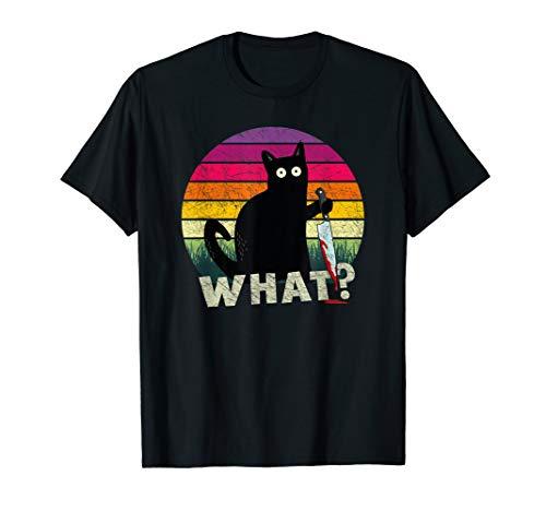 Katze What? Halloween Mörderische Katze mit Messer Geschenk T-Shirt
