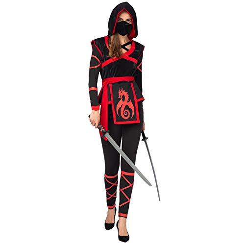 Spooktacular Creations Halloween Ninja Warrior Costume for Women with Ninja Mask (Medium) Red